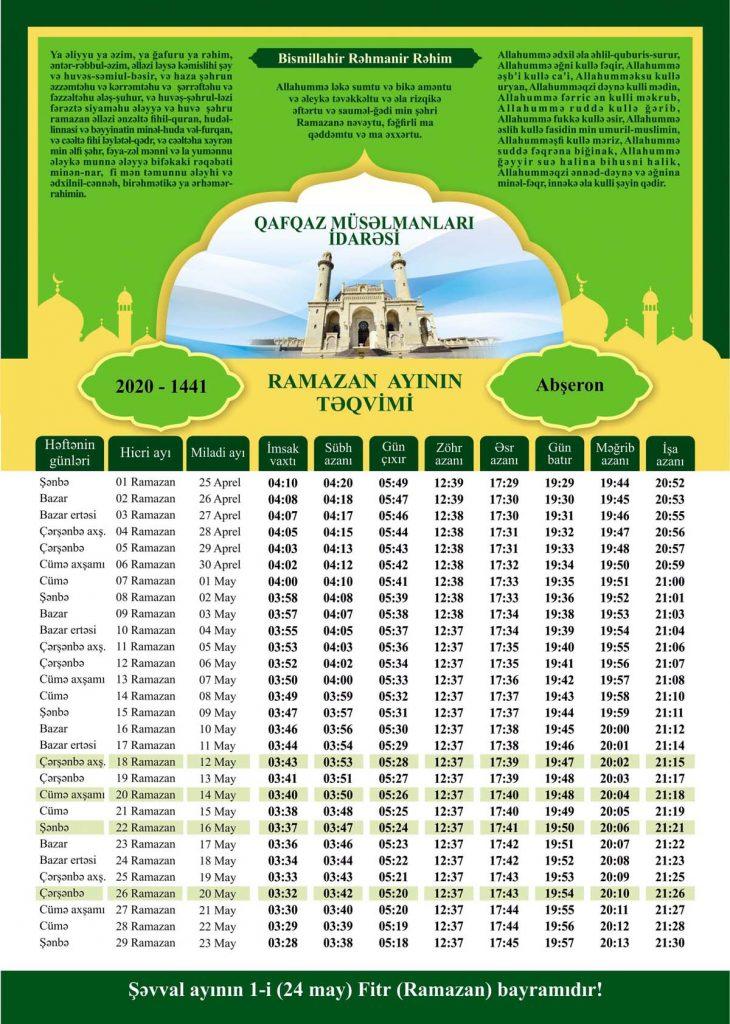 Ramazan Təqvimi 2020 Novator Az