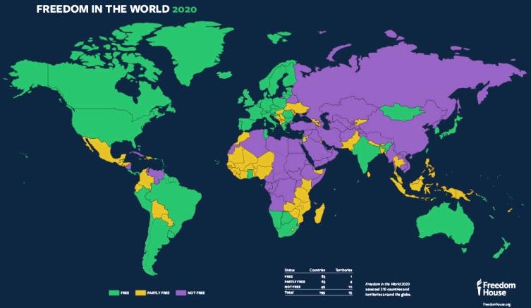 Dünyanın azadlıq xəritəsi